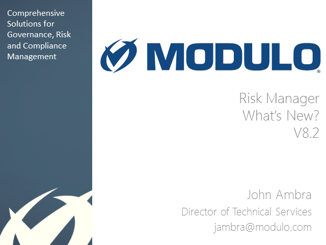 Modulo Risk Manager: What's New v8.2