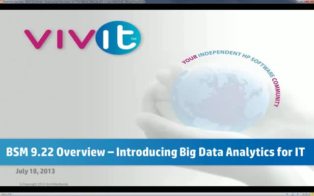 BSM 9.22 Overview – Introducing Big Data Analytics for IT