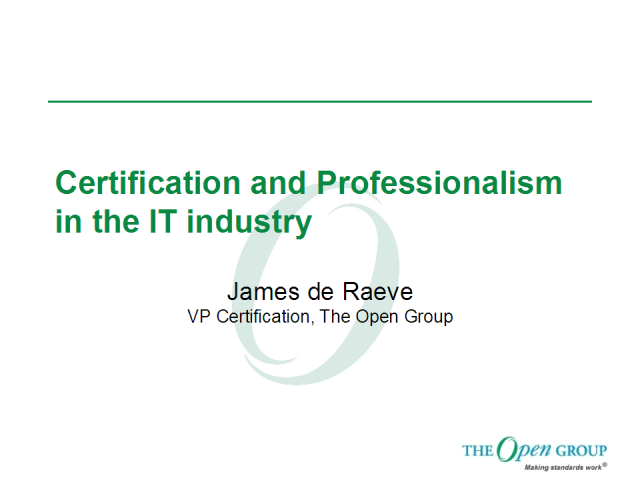 Certification and Professionalism in the IT industry
