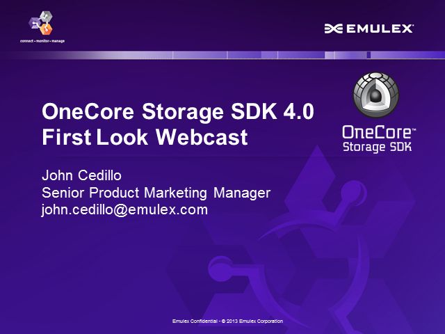"First Look Webcast: OneCore Storage SDK 4.0: Join Us for a Chance to Win ""Beats"""