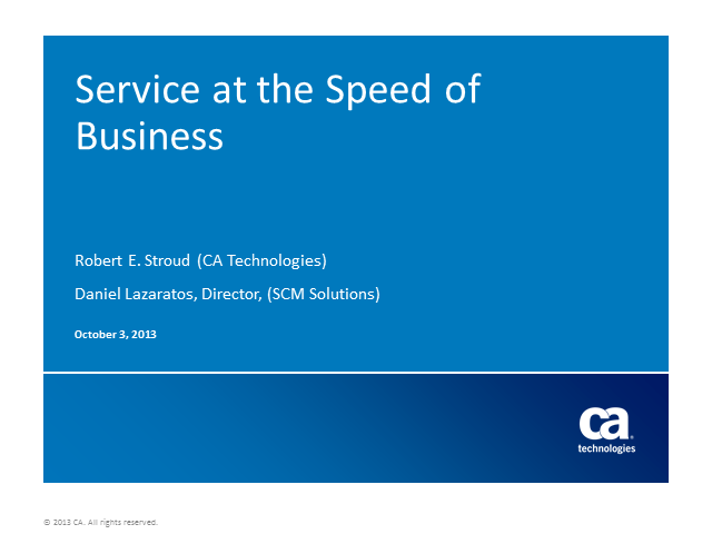 Delivering Service at the Speed of Business (1 PriSM CPD)