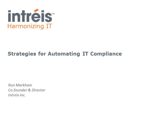 Strategies for Automating IT Compliance