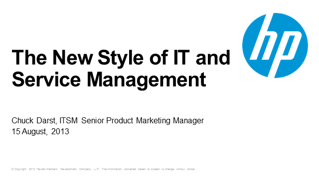The New Style of IT and Service Management