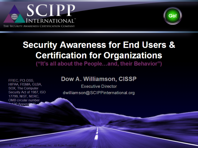 Security Awareness for End-Users, Certification for Organization