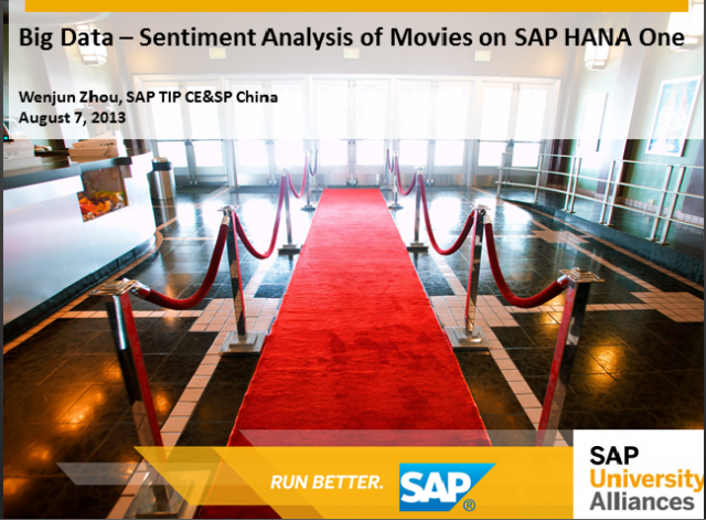 Movie Sentiment Rating App Powered by Text Analysis on HANA One