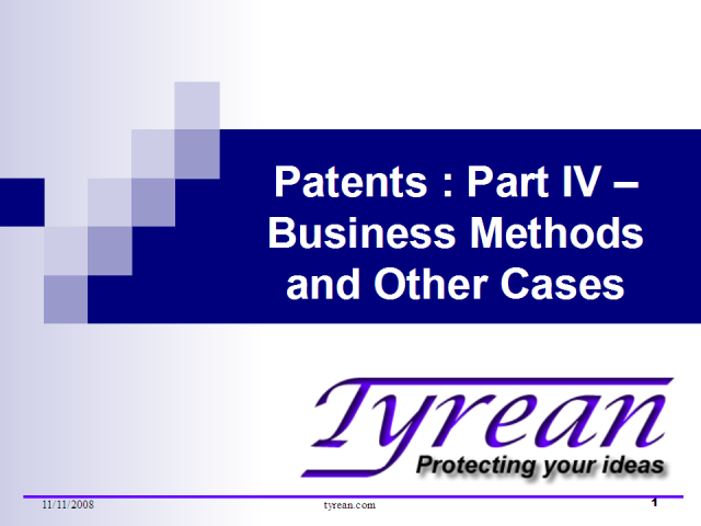 Patents : Part IV - Business Methods