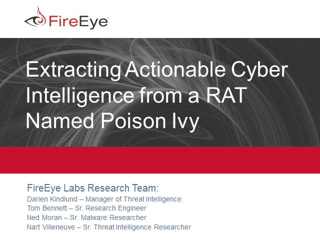 Extracting Actionable Cyber Intelligence from a RAT Named Poison Ivy