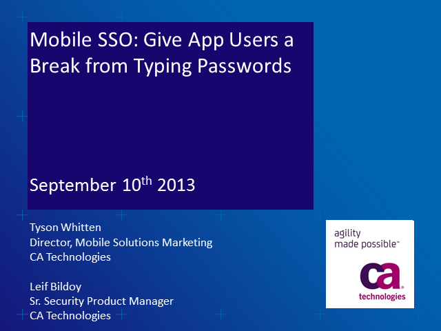 Mobile Single Sign-on: Give Your Customers a Break from Passwords