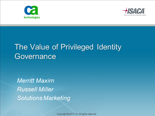 The Value of Privileged Identity Governance