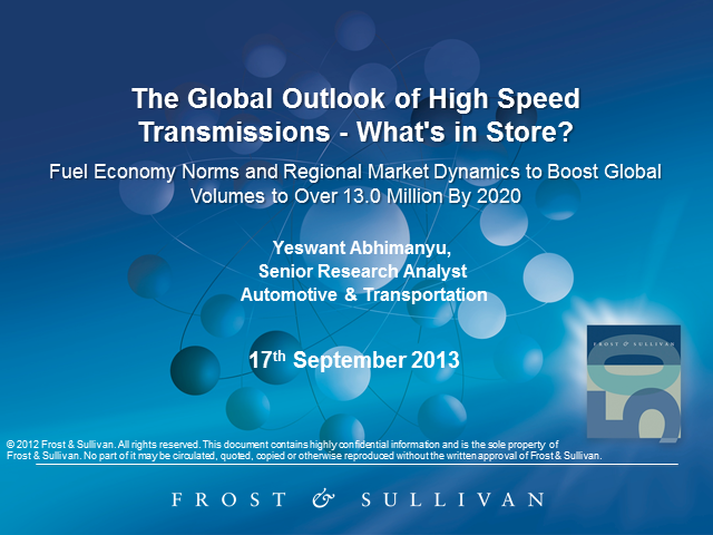 Global Outlook for High-Speed Automotive Transmissions - What's in Store?