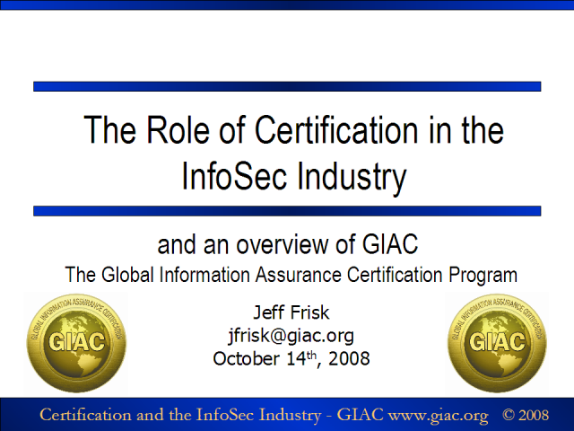 InfoSec Certification and the GIAC Program