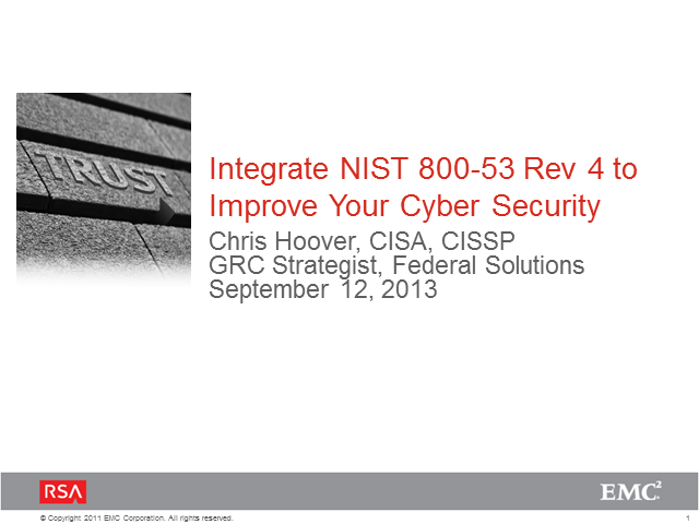 Integrate NIST 800-53 Rev 4 to Improve Your Cyber Security