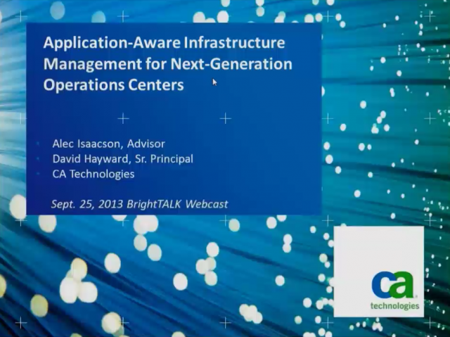Application-Aware Infrastructure Mgmt for Next-Generation Operations Centers