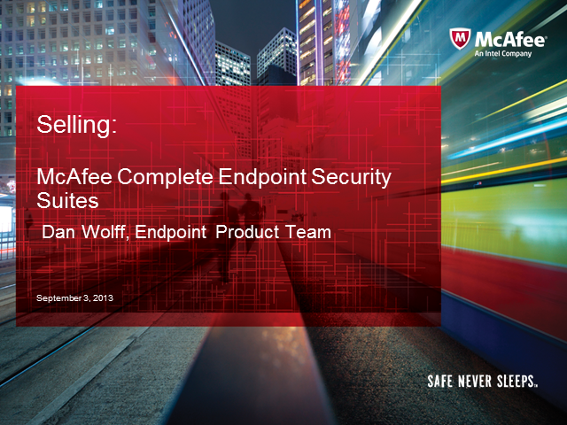 Sales Essentials: McAfee Complete Endpoint Security Suites