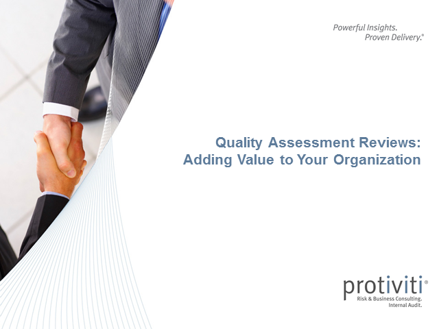 Quality Assessment Reviews: Adding Value to Your Organization