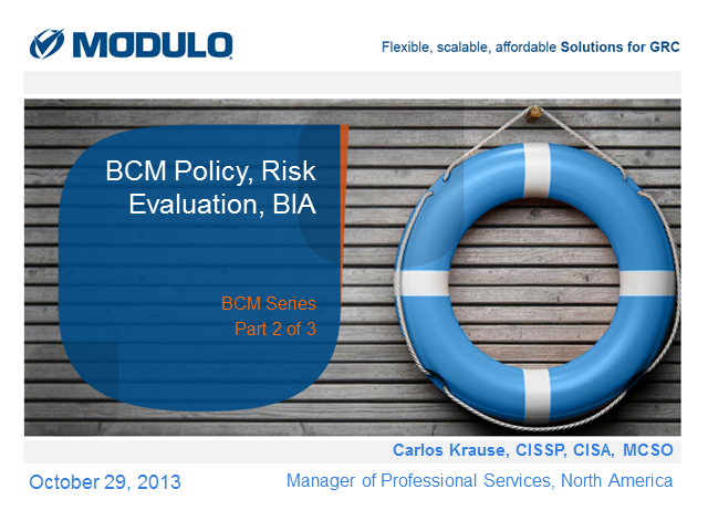 BCM Policy, Risk Assessment, BIA: Part 2