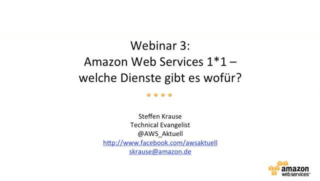 Amazon Web Services 1*1 - Welche Dienste gibt es?