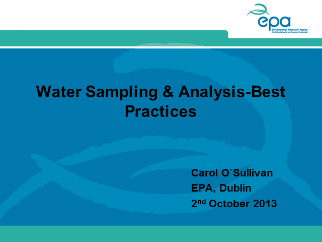 Water Sampling and Analysis Best Practice