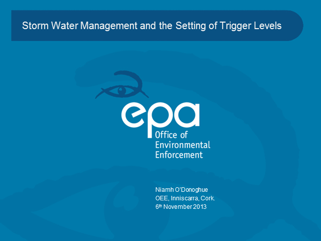 Storm Water Management and Setting of Trigger Levels