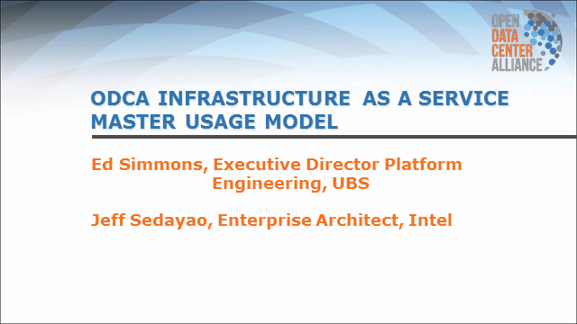 ODCA Compute Infrastructure as a Service Master Usage Model