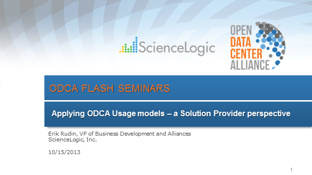 Applying ODCA Usage Models - A Solution Provider's perspective