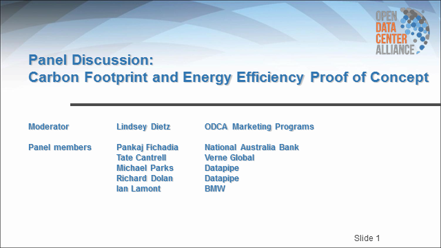 Carbon Footprint and Energy Efficiency Proof of Concept Panel Discussion