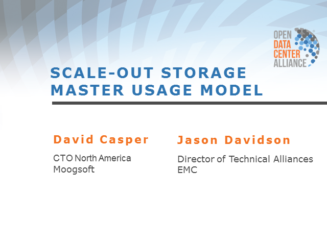 ODCA Scale-Out Storage Master Usage Model