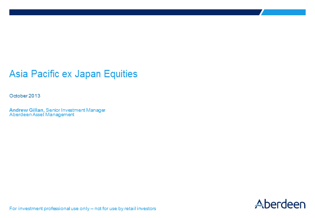 Asia Pacific ex Japan Equities Q3 Update 2013