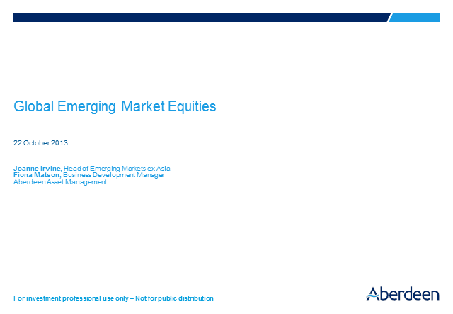 Global Emerging Market Equities Q3 Update 2013