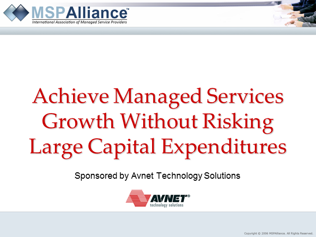Achieve Managed Services Growth Without Risking Large Capital Expenditures