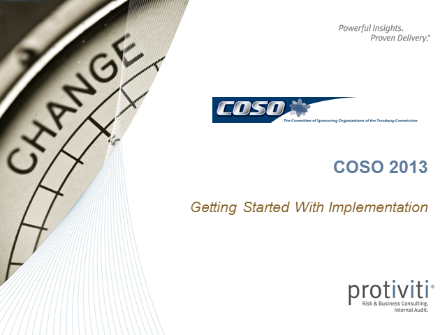 COSO 2013:  Starting Implementation Guidance