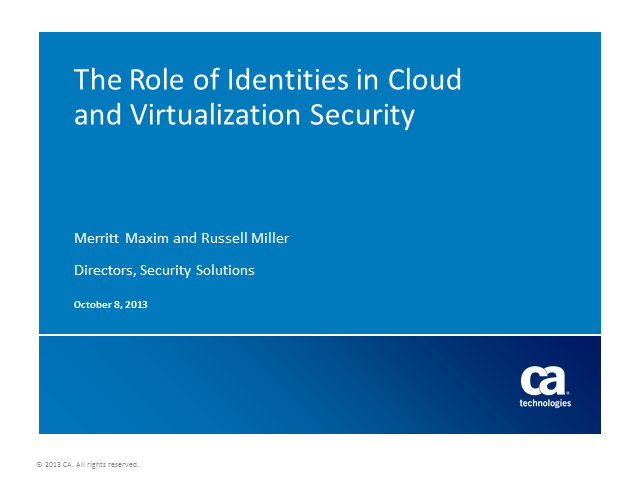 The Role of Identities in Cloud and Virtualization Security