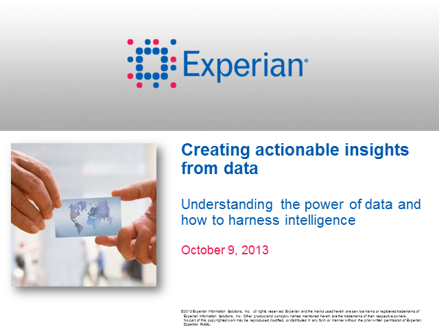 Creating actionable insights through data