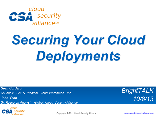 Securing Your Cloud Deployments