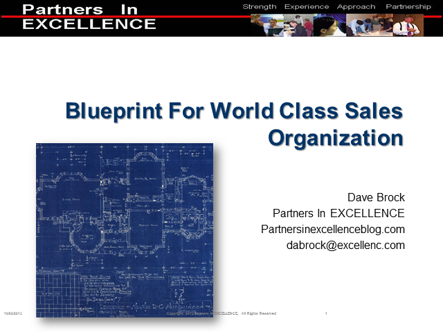 The Blueprint for a World Class Sales Organization