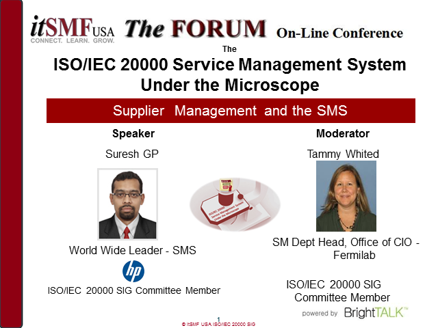 itSMF USA - ISO/IEC 20000 SMS Under the Microscope: Supplier Management