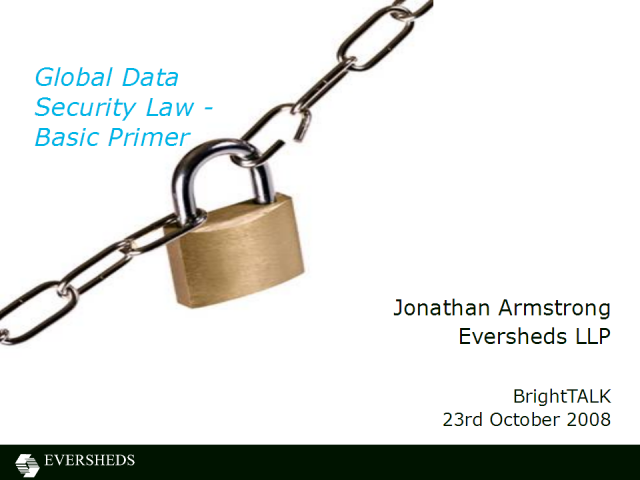 Global Data Security Law - Basic Primer