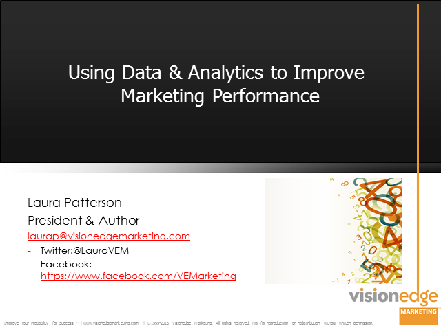 Using Data and Analytics to Improve Marketing Performance