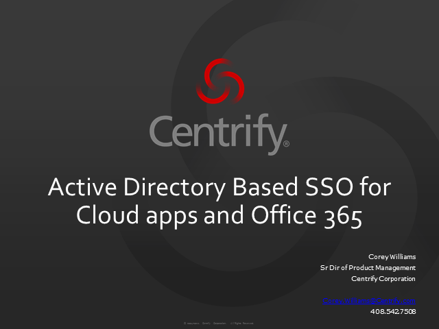 Active Directory Based Single Sign-On for Cloud apps and Office 365
