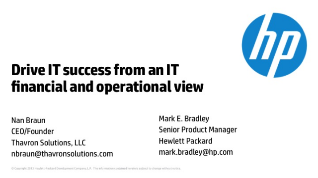 Drive IT Success from an IT Financial and Operational view