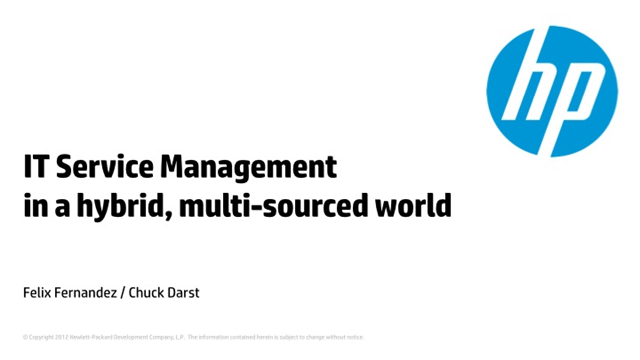 IT Service Management in a hybrid, multi-sourced world