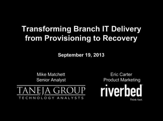 Transforming Branch IT Delivery from Provisioning to Recovery