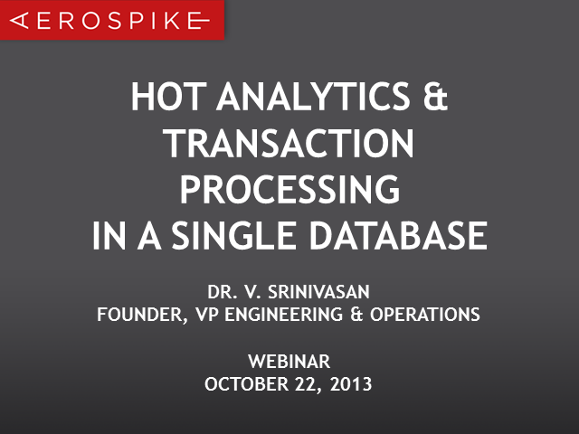 Hot Analytics & Transaction Processing in a single Operational NoSQL Database