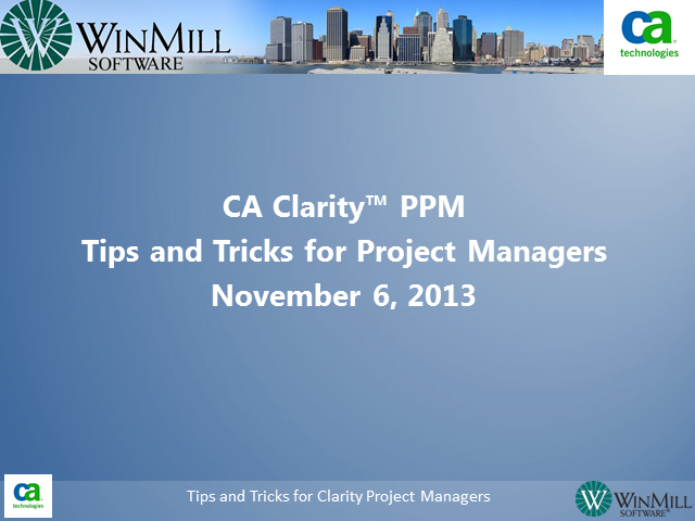 Tips & Tricks for Clarity Project Managers