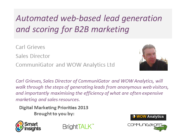 Automated web-based lead generation and scoring for B2B marketing