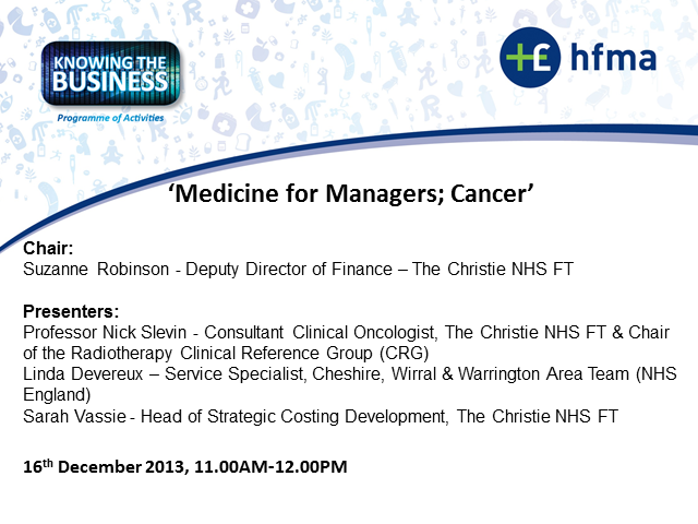Free Webinar December 16th Developing >> Knowing The Business Medicine For Managers Cancer Webinar