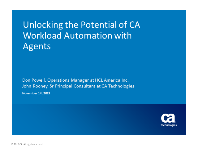 Unlocking the Potential of CA Workload Automation with Agents