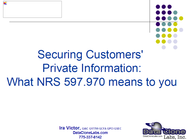 Securing customers' private information: NRS 597.970 Part I