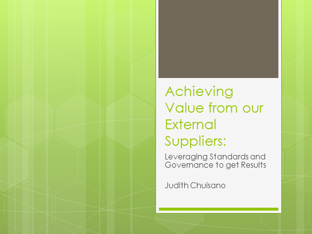 New Jersey LIG: Achieving Value from our External Suppliers