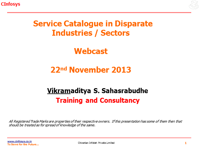 The Service Catalogue in Disparate Industries/Sectors